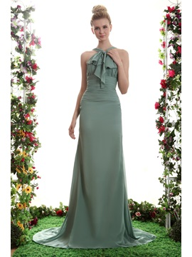 Sexy Sheath/Column Halter Floor-Length Yana's Bridesmaid Dress
