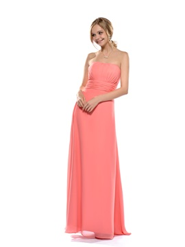 A-line Strapless Floor-length Bridesmaid Dress