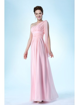 One-Shoulder Empire A-Line Ruffles Floor-Length Bridesmaid Dress