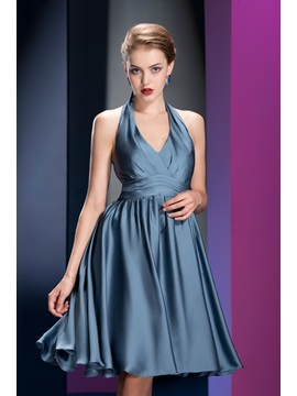 High Quality A-line Knee-length Halter Ruched Bridesmaid Dress