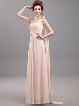 Floor Length A-Line Pleated Chiffon One Shoulder Bridesmaid Dress