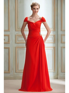 Elegant A-Line Crystal Floral Pin One-the-shouldre Floor-Length Yana's Bridesmaid Dress