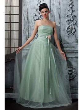Wonderful A-Line Sleeveless Strapless Flowers Pleats Floor-Length Polina's Bridesmaid Dress