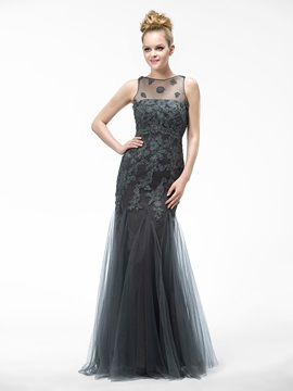 Classical Trumpet Appliques Floor-Length Bateau Neck Evening Dress