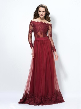 Hot Selling A-Line Long Sleeves Lace Evening Dress Designed