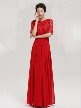 Vintage Scoop Neck Lace Half Sleeves Long Evening Dress