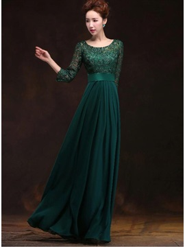 Vintage A-Line Half Sleeves Long Lace Evening Dress