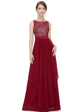 Simple Scoop Neck A-Line Lace Long Evening Dress