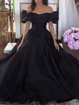 Off-The-Shoulder A-Line Floor-Length Princess Evening Dress