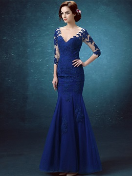 Vintage V-Neck 3/4 Length Sleeves Appliques Mermaid Evening Dress