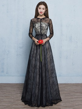 Vintage 3/4 Length Sleeves Button Lace Evening Dress