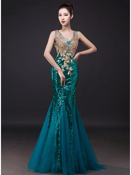 Shiny Trumpet Sequins Embroidery Beading Zipper-up Long Evening Dress