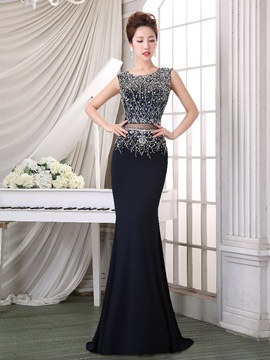 Sexy Round Neck Beaded Sequins Hollow Mermaid Evening Dress