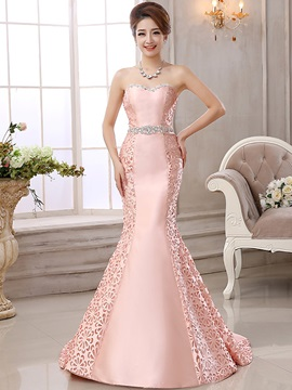 Graceful Sweetheart Crystal Hollow Lace-up Mermaid Evening Dress