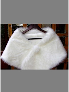Simple Style Lady's Faux Fur Wedding/Evening Shawl with Fluffy Ball