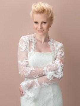 Eye-catching Lace Appliques Long Sleeves Wedding Jacket
