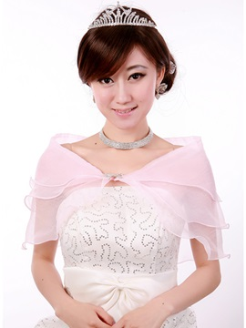 Glamorous Transparent Pink Short Sleeve Gauze Wedding Wraps