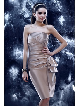 Elegant Sheath Pleats Knee-Length Strapless Tiered Yulia's Event Dress