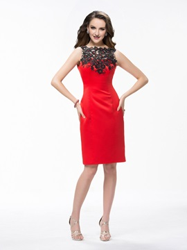 Column Lace Appliques Sequins Knee-Length Formal Dress