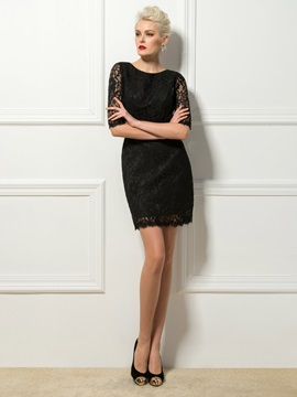 Vintage Sheath Scoop Neck Half Sleeves Lace Short Cocktail Dress