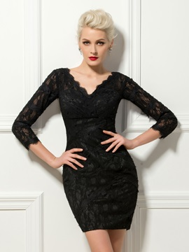 Modern V-Neck Sheath Lace 3/4 Length Sleeves Beading Mini Cocktail Dress
