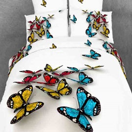 Colorful 3D Butterfly Print with White Color Duvet Cover 4-Piece Bedding Sets
