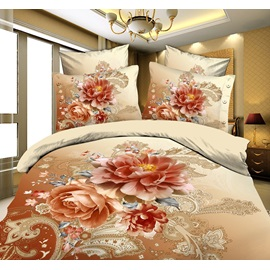 Miraculous Peony Comfy Printed 4Piece Cotton Bedding Sets