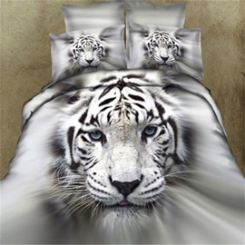Cool Tiger Print 4 Pieces Cotton Bedding Sets