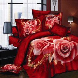 Blooming Rose Printed Cotton 3D 4-Piece Duvet Cover Set