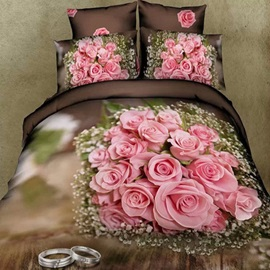 Nice Pink Rose with Couple Rings Printed Cotton 3D 4-Piece Duvet Cover Set
