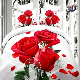 Top Quality Three Red Roses Printed Cotton 3D 4-Piece Duvet Cover Set