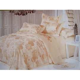 Floral Beige Drill 4 Piece Bedding Sets with Jacquard
