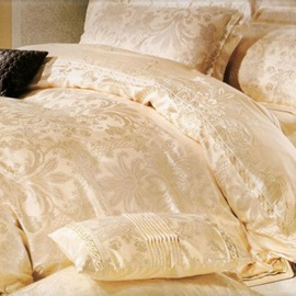 European Style 4 Piece Stain Drill Bedding Sets with Beige Pattern