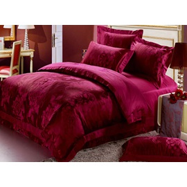 Favorable and Festival Red Flowers 4 Piece Satin Bedding Sets with Jacquard