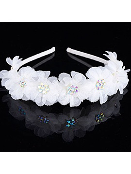 New Alloy with Rhinestone White Flower Bridal Hairband