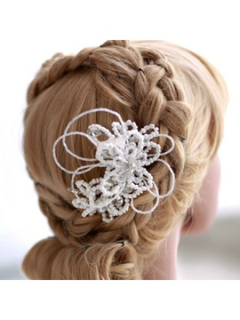 White Beaded Pearl Hair Comb