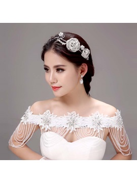 Shiny Floral Alloy Wedding Headwear