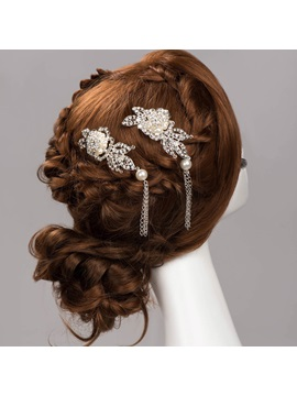 Charming Pearls Rhinestone Floral Tassel Wedding Hair Flower