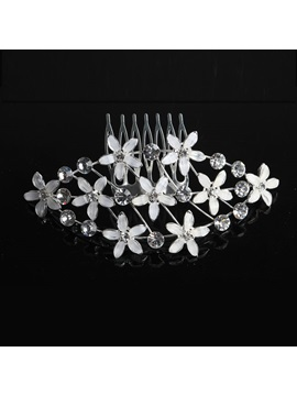 White Floral Rhinestone Wedding Comb Headpiece