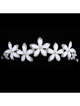 Enchanting Alloy with Flower Resins Wedding Bridal Tiara