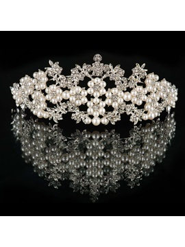 Floral Pearls and Floral Rhinestone Alloy Wedding Tiara