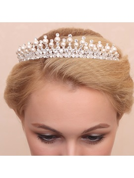 Delicated Pearls Rhinestone Alloy Wedding Tiara