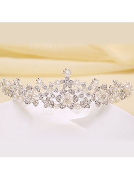 Exquisite Pearls Embellishing Rhinestone Wedding Tiara