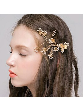 Golden Plated with Beads Wedding Hairpin