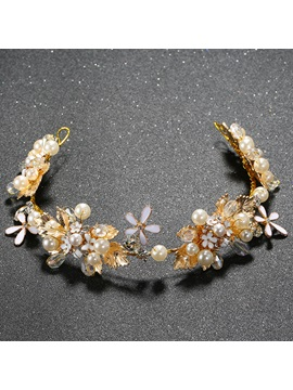 Golden Beading Flowers Design Wedding Tiara