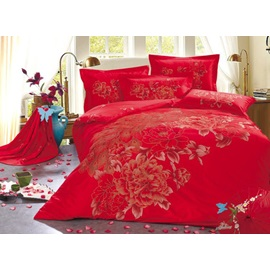 Extravagant Peony and Auspicious Peacock 4 Piece Cotton Duvet Cover Bedding Sets