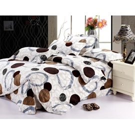 Top Grade Brown Circles Cotton 4 Piece Duvet Cover Bedding Sets