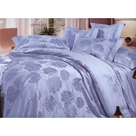 4-Piece Beautiful Light Grey Jacquard Floral Drill Bedding Sets