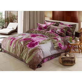Bright Red Rose Jacquard Drill Printed 4 Piece Bedding Sets