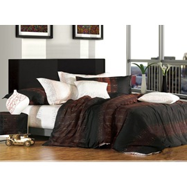 4 Piece Black and Brown Stripes Comfoter Sets with Cotton